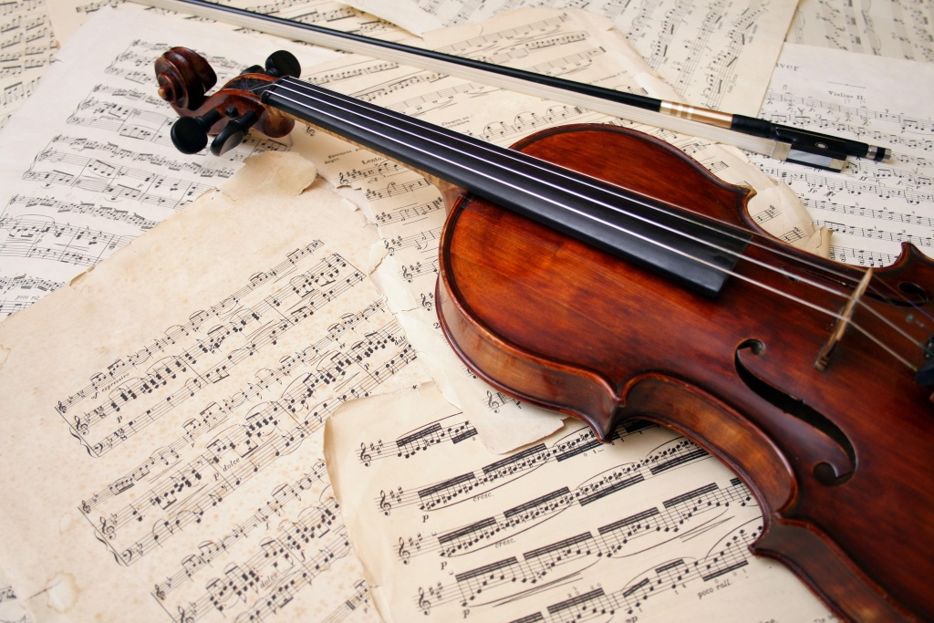 violin-musical-instrument-bow-music-sheet