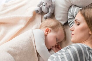 Sleeping Baby and Mom Hero